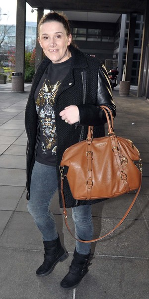 Pregnant X Factor winner Sam Bailey hides her growing baby bump under a baggy jumper as she arrives at RTE studios for The Late Late Show, 4 April 2014.