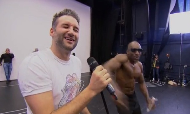 Dane Bowers gets treated to a strip-o-gram during Big Reunion rehearsals - 4 April 2014