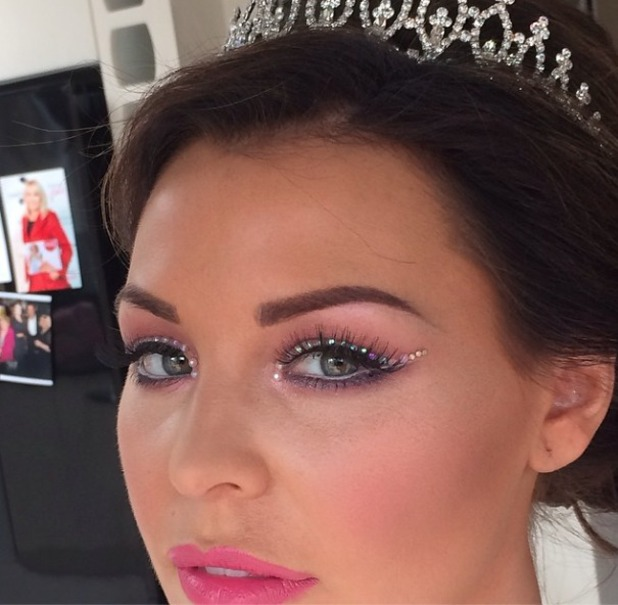 Jess Wright shows off her princess make-up for last day filming of TOWIE, 30 March 2014