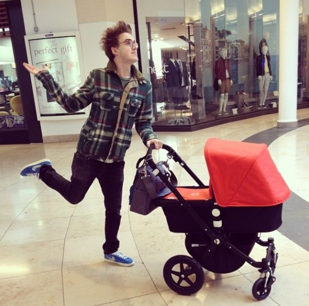 McFly's Tom Fletcher has taken baby son Buzz Michelangelo on his first outing (4 April).