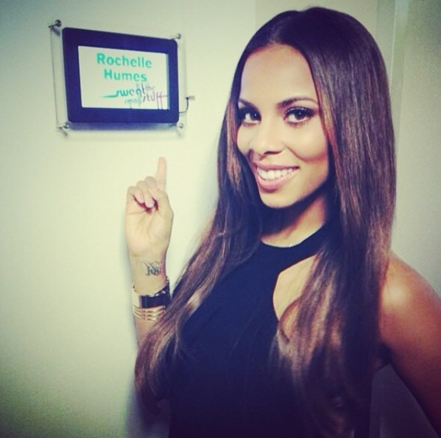 Rochelle Humes posing backstage on Sweat The Small Stuff (28 March 2014).