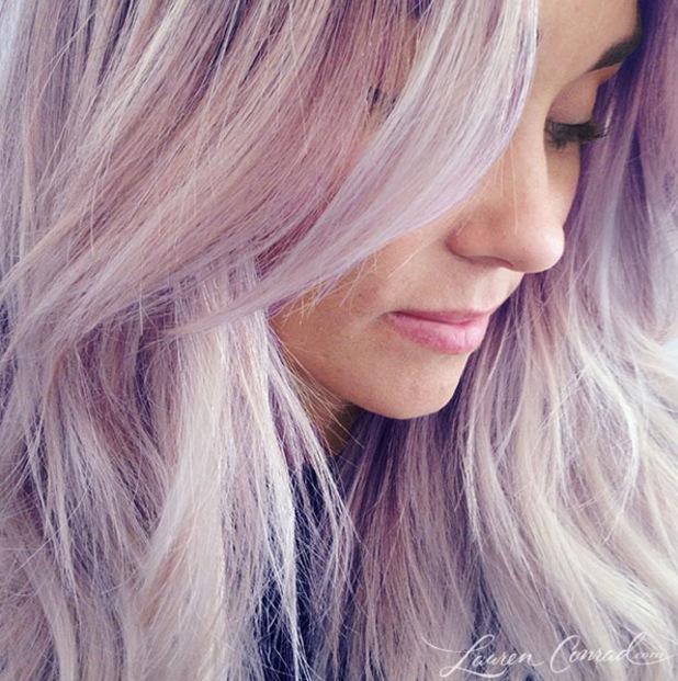 Lauren Conrad shows off new purple hair - 1 April 2014
