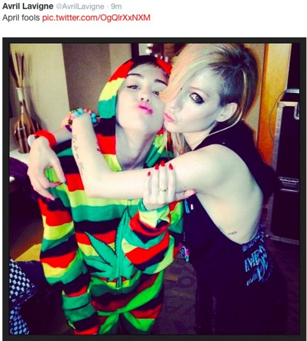 1/4/14 April Fools pic Avril and Miley after their fight