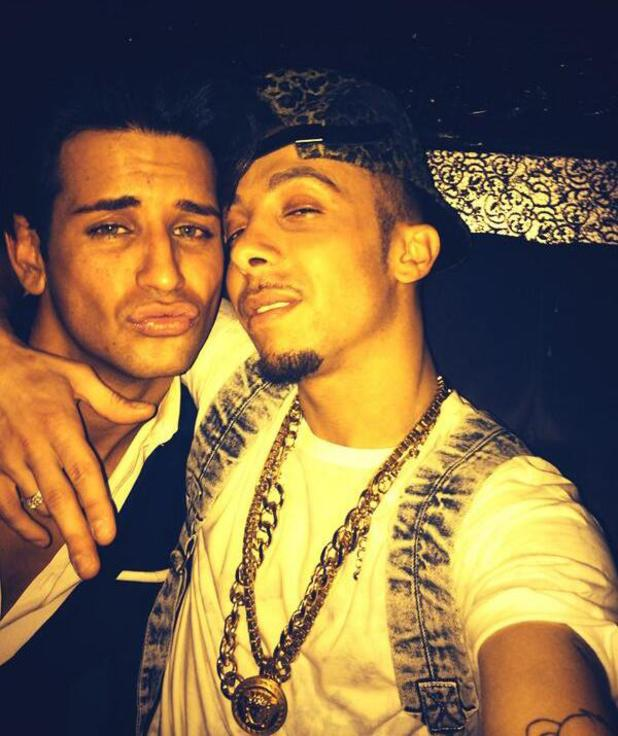 Celebrity Big Brother stars Ollie Locke and Dappy party in Chelsea, London (30 March).
