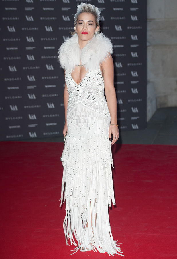 Rita Ora attends The Glamour of Italian Fashion 1945-2014 VIP dinner at the Victoria and Albert Museum in London, 1 April 2014