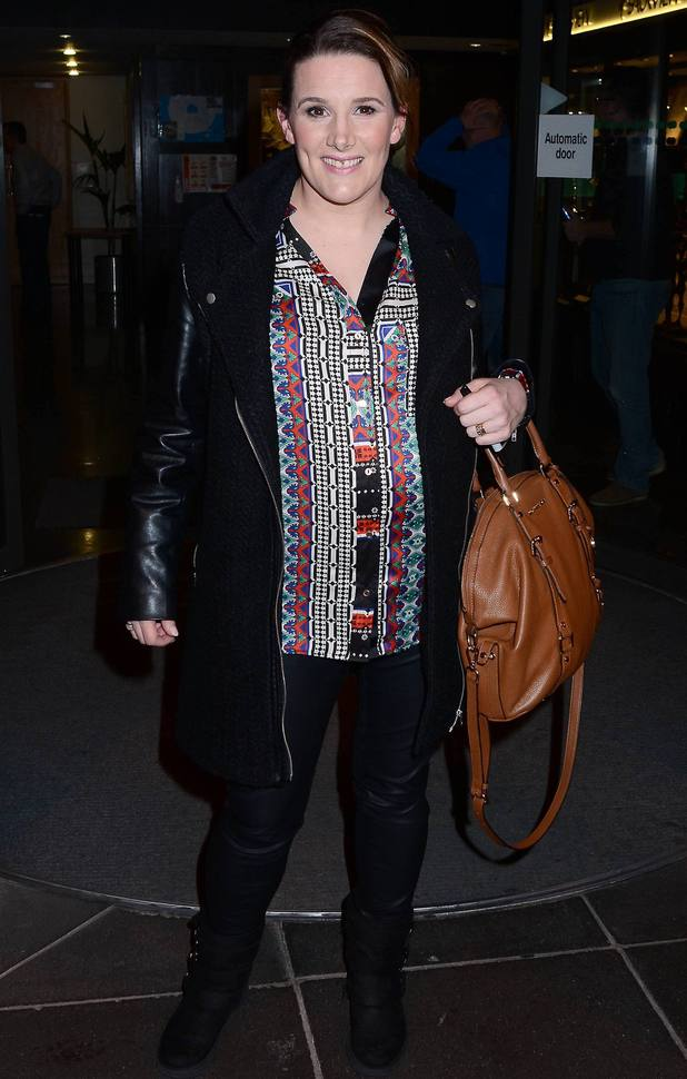 Pregnant X Factor winner Sam Bailey arrives at RTE studios for her guest appearance on The Late Late Show, 4 April 2014.