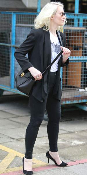 Claire Richards outside ITV studios, 1 April 2014