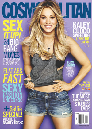 Kaley Cuoco is the Cosmopolitan US cover girl for May, issue available 8 April 2014