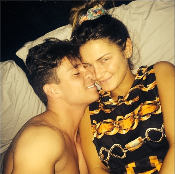 TOWIE stars Joey Essex and Sam Faiers post selfie in bed (31 March).