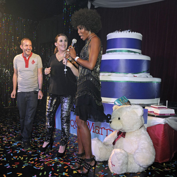 X Factor 2013 winner Sam Bailey live at G-A-Y with surprise guest Naomi Campbell, 29 March 2014