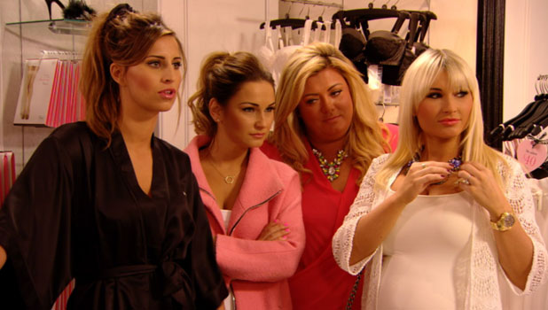 TOWIE girls listen as Danielle Armstrong talks to James Lock on phone, airs 2 April 2014