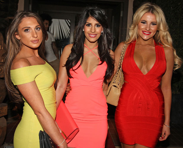 Jasmin Walia at 'The Only Way Is Essex' wrap party held at Kanaloa nightclub with Grace Andrews and Georgia Kousoulou, 2 April 2014
