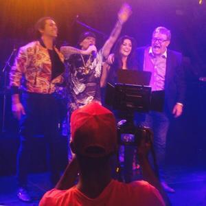 Casey Batchelor reunites with CBB contestants Ollie Locke, Jim Davidson and Dappy at gig, 12 April 2014