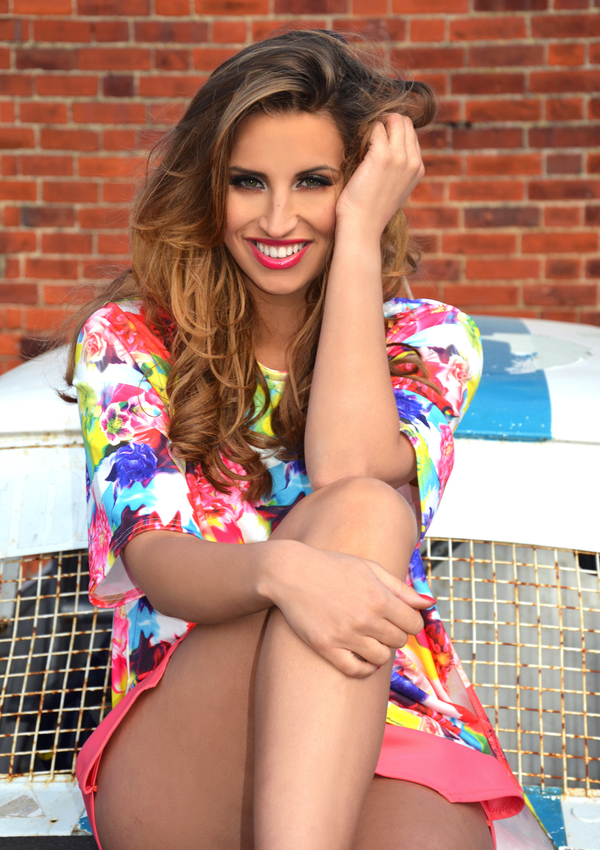 Ferne McCann modelling a dress from her new collection #FML for Lasula Boutique