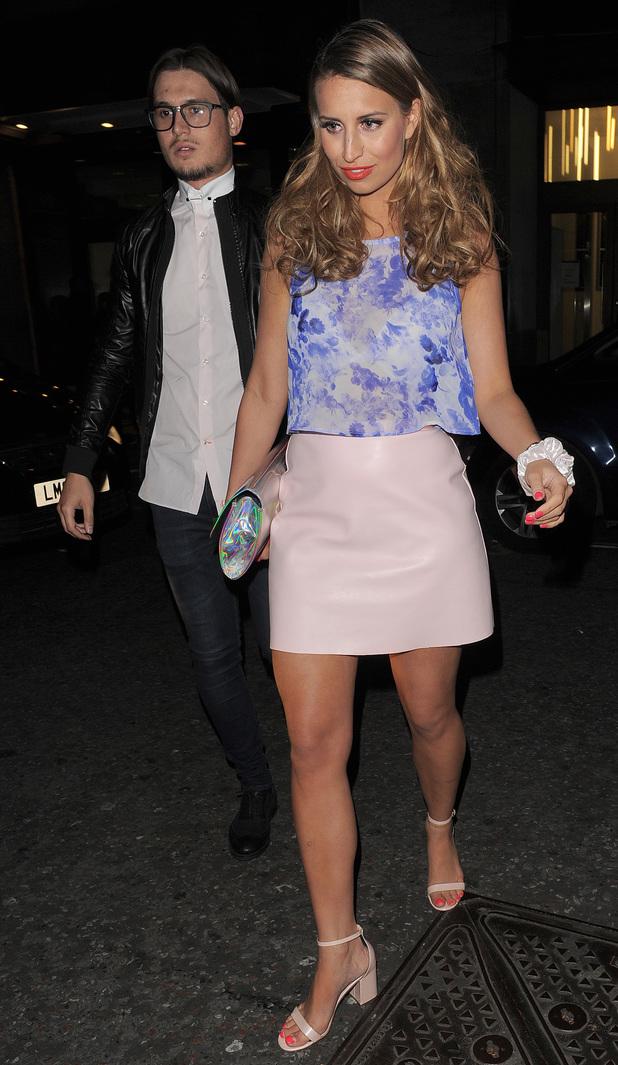 Charlie Sims, Ferne McCann - Celebrities leaving Kensington Roof Gardens 04/09/2014 London, United Kingdom