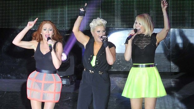 Kerry Katona, Liz McClarnon, Natasha Hamilton - Atomic Kitten performing on stage during the Big Reunion Tour at the O2 Dublin 05/16/2013