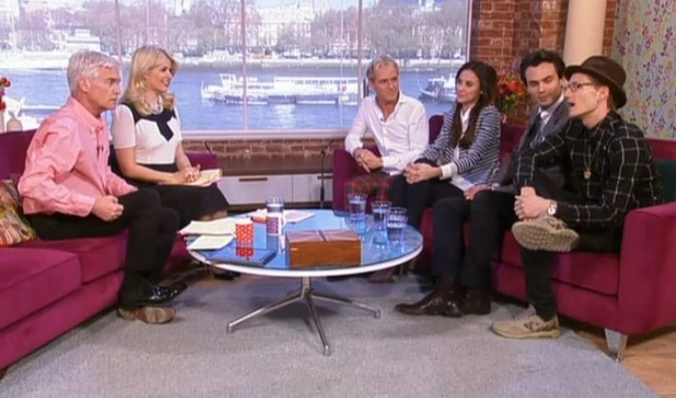 'This Morning's Holly Willoughby and Phillip Schofield TV Programme, London, Britain. - 09 Apr 2014 Jamie Laing, Lucy Watson, Mark Francis and Oliver Proudlock