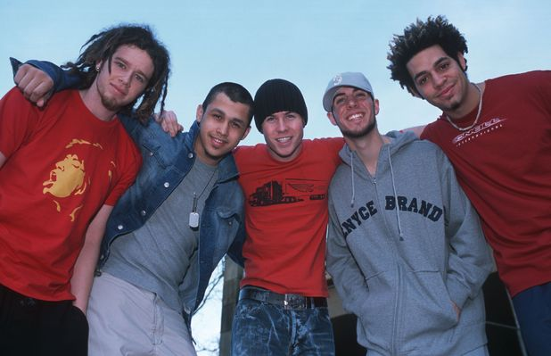 O Town - Jacob Underwood, Eric Michael Estrada, Ashley Parker Angel, Dan Miller and Trevor Penick in Germany Feb 2002
