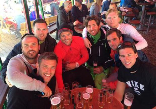 Mark Wright, TOWIE's Elliott Wright drink beer at snowbombing festival in Austria (9 April).