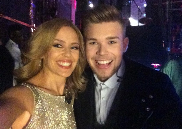 Kylie Minogue tweets a picture with Jamie Johnson before appearing on The Voice - London - 5 April 2014