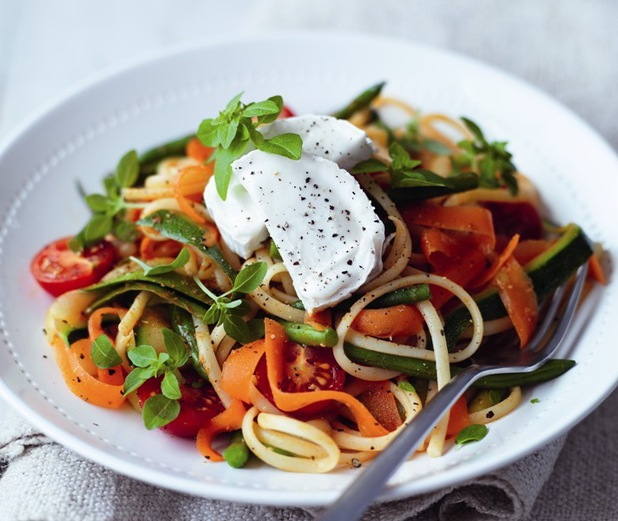 Goat's cheese and vegetable linguine