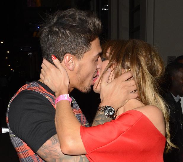 Mario Falcone and Chloe Sims kiss outside Funky Buddha 18 March 2014