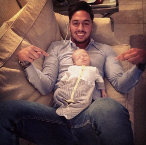 TOWIE's Mario Falcone spends quality time with his baby nephew Buzz Michelangelo (10 April).