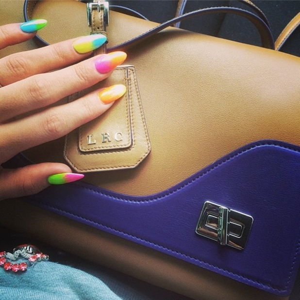 Lily Allen shows off her neon ombre manicure and Prada handbag on Instagram - 8 April 2014