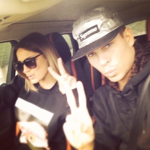 Sam Faiers and Joey Essex pose while in a car (6 April).