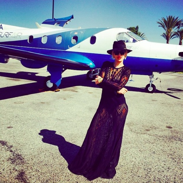 Rita Ora shares pictures of her mode of travel to Coachella music festival, 11 April 2014