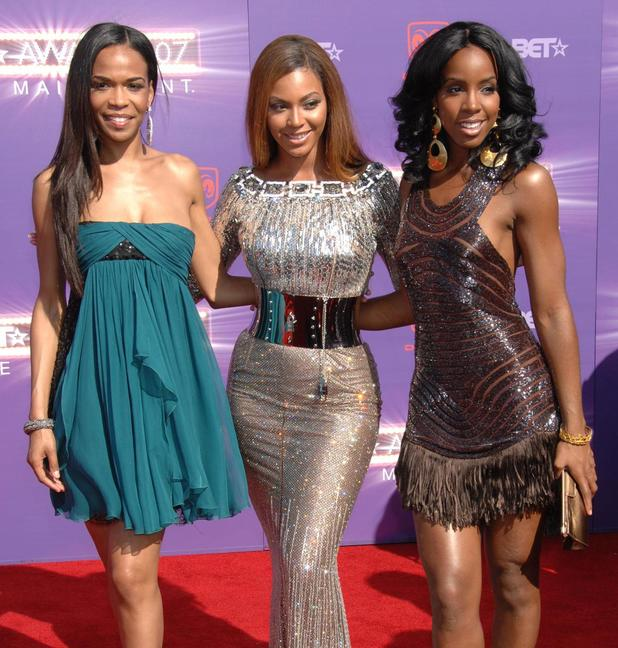 Michelle Williams , Kelly Rowland and Beyonce Knowles of Destinys Child arrive at the B.E.T.Awards 2007 held at The Shrine - Arrivals Los Angeles, California.