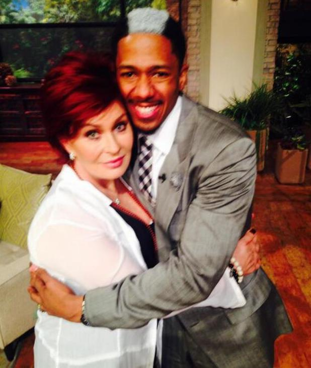 Sharon Osbourne with Nick Cannon on The Talk (8 April).