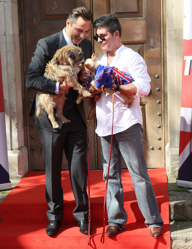 David Walliams and Simon Cowell - Britain's Got Talent - press launch held at St Luke's Church - Arrivals 9 April 2014.