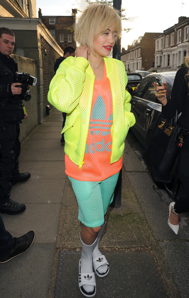 Rita Ora wears a neon Adidas outfit while out in London, England - 4 April 2014