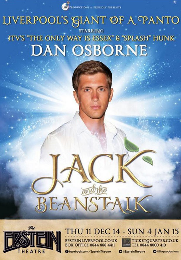 Dan Osborne to star in Jack and the Beanstalk pantomime in Liverpool, Dec - January 2015