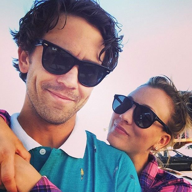 Kaley Cuoco and husband Ryan Sweeting pose for a Saturday selfie, April 2014