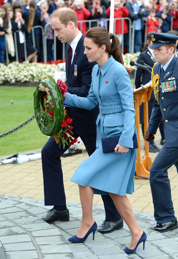 Prince William and Catherine Duchess of Cambridge lay a wreath at the Blenheim war memorial Seymour Square, New Zealand - 10 Apr 2014