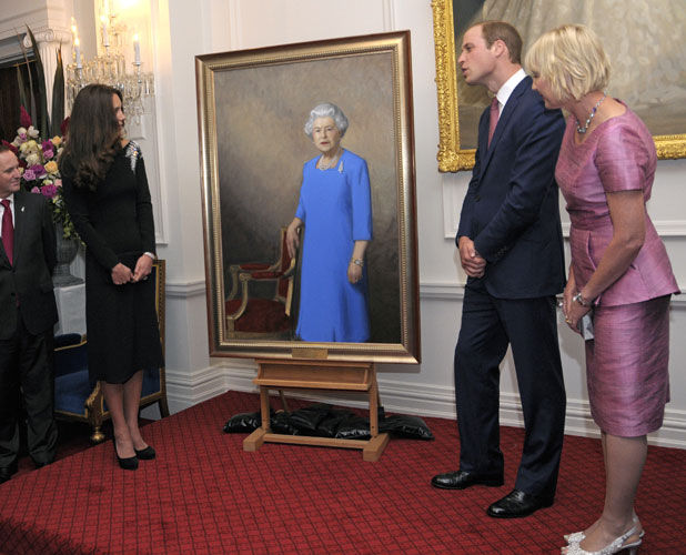 Prince William, Duke of Cambridge and Catherine, Duchess of Cambridge at an art unveiling of a portrait of Queen Elizabeth II at Government House in Wellington, New Zealand on April 10, 2014