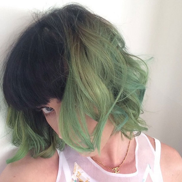 Katy Perry dyes her hair green, Instagram, 7 April 2014