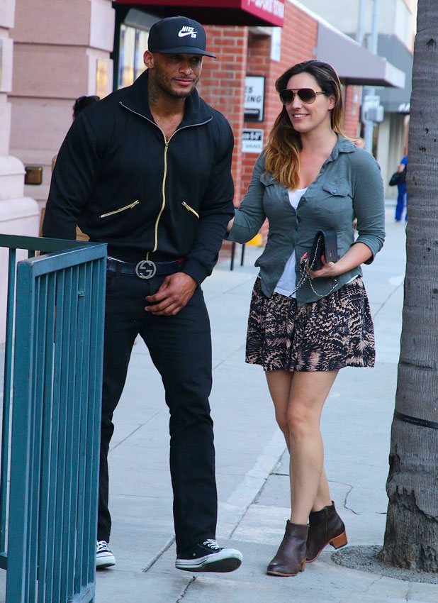 Kelly Brook and fiancee David Mclntosh out and about on Bedford Drive, 8 April 2014