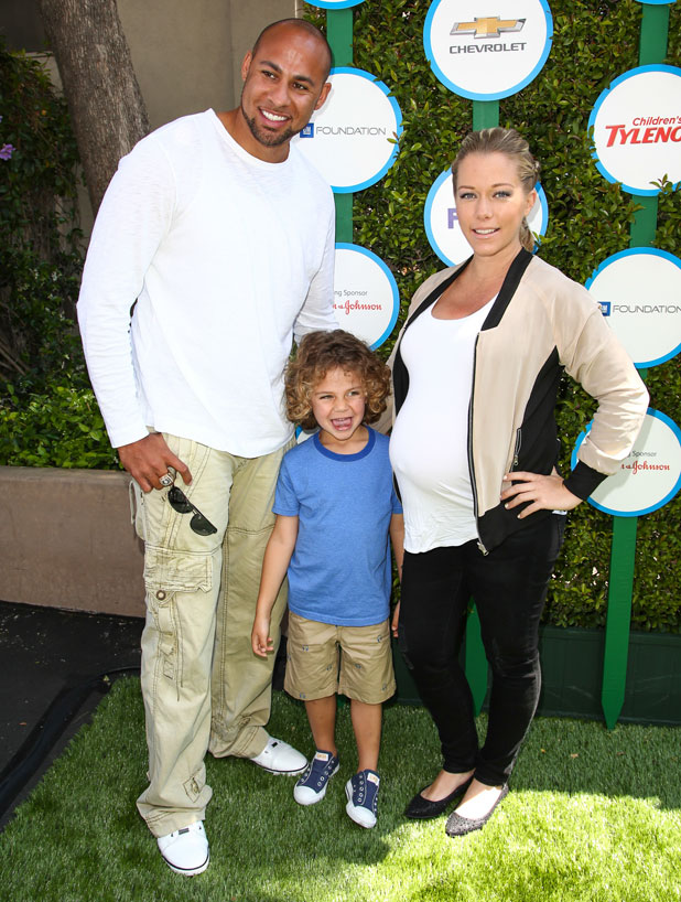 Kendra Wilkinson, Hank Baskett and son Hank Baskett Jr at the Safe Kids Day 2014 event held at The Lot - Arrivals, 5 April 2014