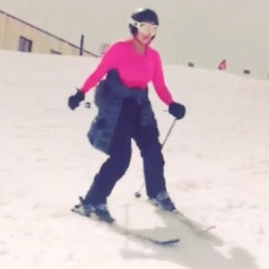 Lauren Goodger enjoys a skiing trip, April 2014