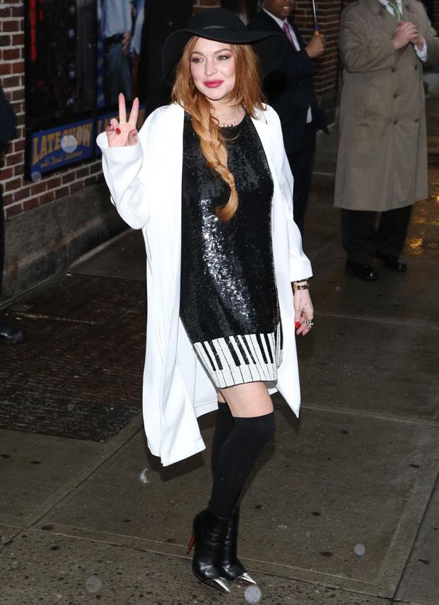 Lindsay Lohan arriving at David Letterman's studios in New York, 7 April 2014