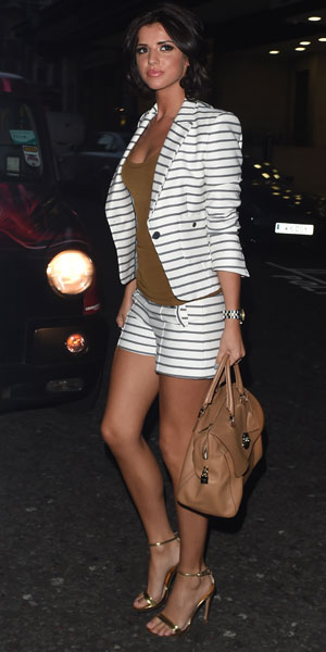 Lucy Mecklenburgh  arriving for the James Jog on 2 Cancer Research dinner at the Kensington Roof Gardens, London, 9 April 2014