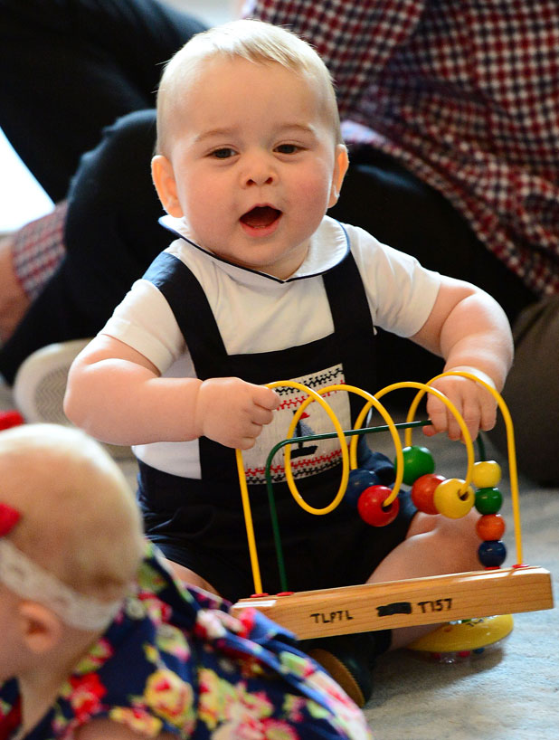 Prince George attends an event for Plunket nurses and parents with their young children at Government House, Wellington 9 Apr 2014