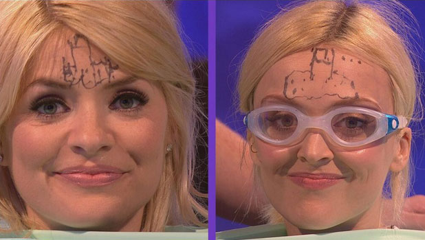 Holly Willoughby and Fearne Cotton recording ITV comedy panel game 'Celebrity Juice', 9 April 2014