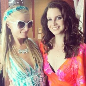 Paris Hilton and Lana Del Rey at Coachella music festival in California, America - 15 April 2014
