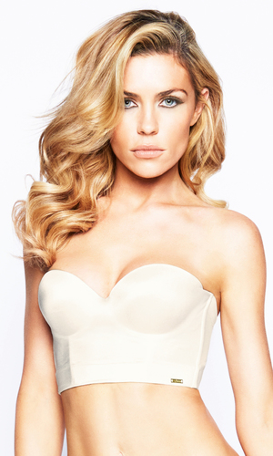 Abbey Clancy models the new 'Low Back Strapless Bra', £35 from Ultimo - 15 April 2014