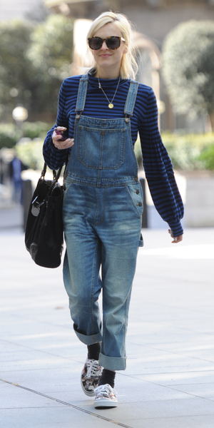 Fearne Cotton arrives at the BBC Radio 1 studios, casually dressed in denim dungarees, 18 April 2014