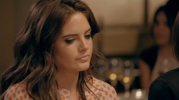 Made In Chelsea Binky Felstead at dinner. Aired 14 April 2014.